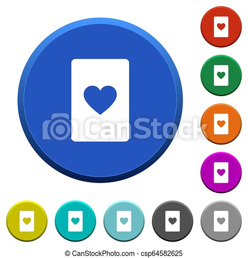 Heart card symbol beveled buttons - csp64582625
