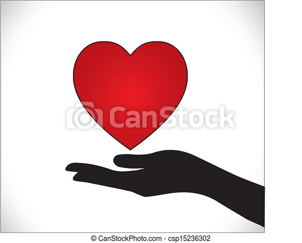 Line Art Love Heart : Heart care or love protection vector
