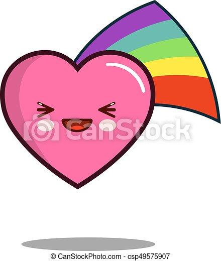 heart cartoon character icon kawaii with rainbow Flat design Vector - csp49575907