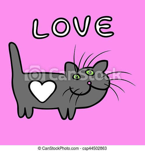Heart Cat On Valentine S Day Vector Illustration Heart Cat On