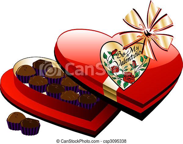 Line Art Valentine : Heart chocolate box. vector valentine box of