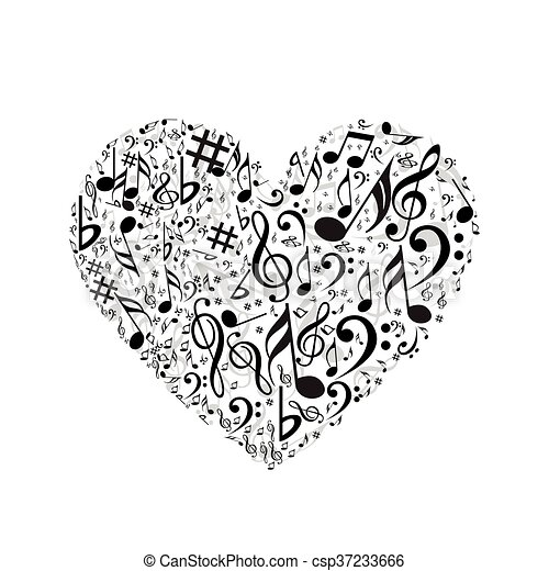 Heart With Music Symbols Clip Art Vector Search Drawings And