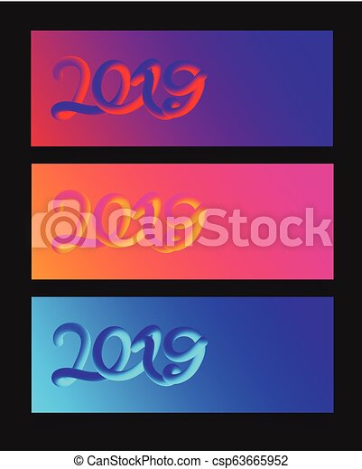 Heart colorful neon figures, Valentine's day greeting Banner - csp63665952