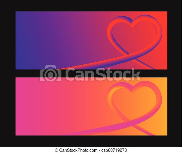Heart colorful neon figures, Valentine's day greeting Banner - csp63719273