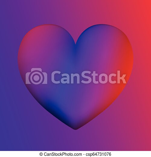 Heart colorful neon figures, Valentine's day greeting Banner - csp64731076