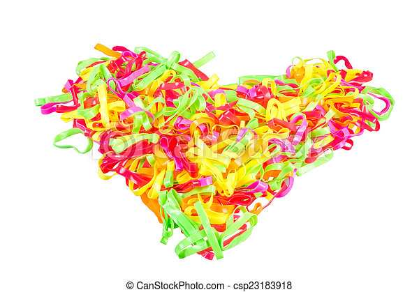 heart Colorful rubber bands on white background - csp23183918