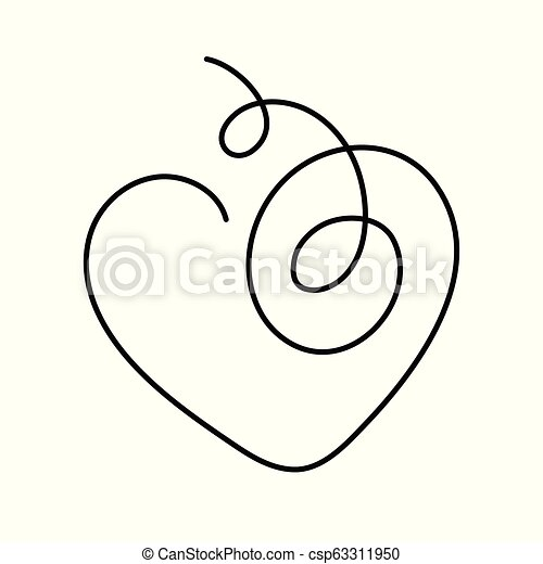 Heart continuous line drawing vector illustration with ...