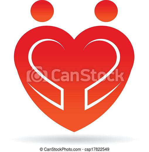 Heart couple shape logo - csp17822549