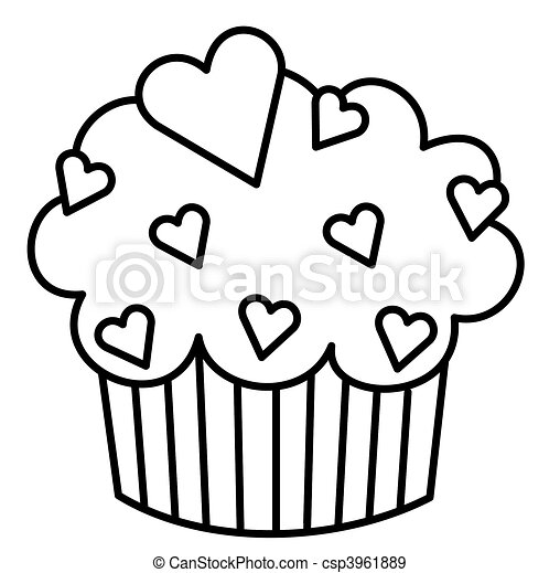 heart cupcake black and white illustration of a cupcake stock rh canstockphoto com drawings clipart black and white clipart drawings of flowers