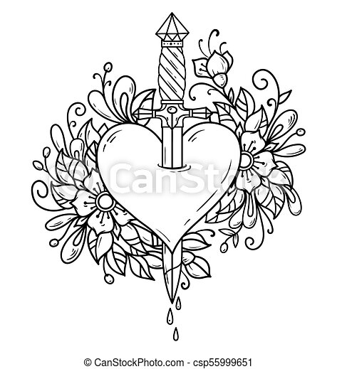 Heart Decorated With Flowers Pierced With Dagger Red Heart