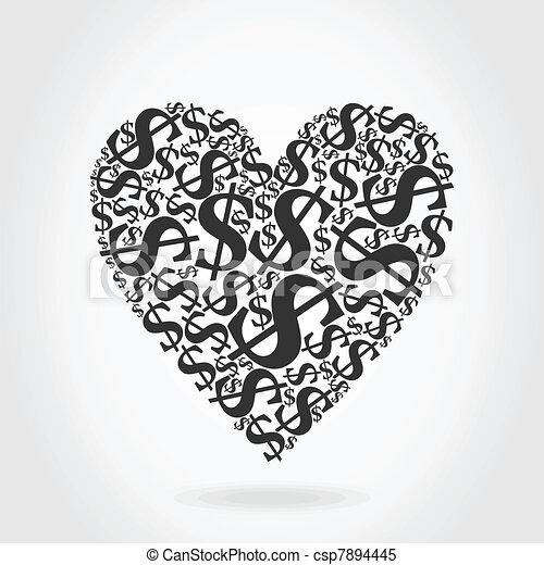 Heart dollar - csp7894445