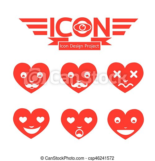 Heart Face Emotion Icon - csp46241572