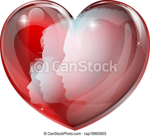 Heart family silhouettes - csp18993603