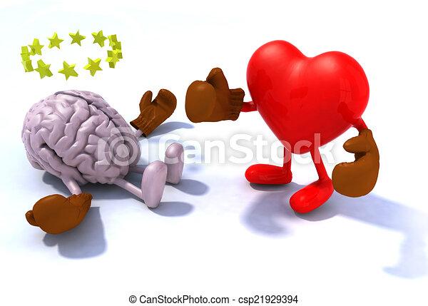 Heart fighting brain - csp21929394