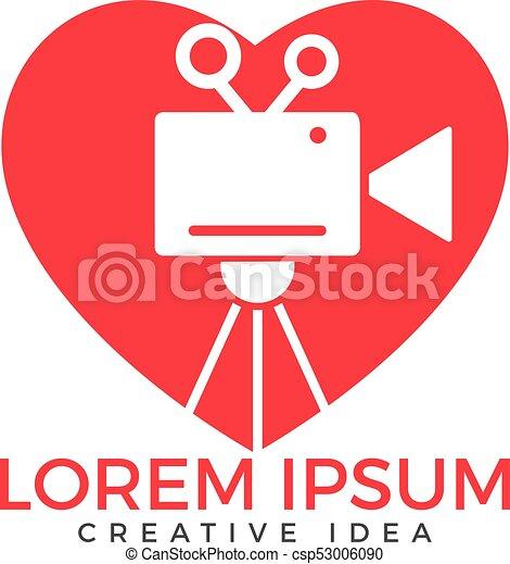 Heart Film Or Movie Cam Logo Design Heart Shape Video Camera Icon
