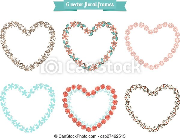 Heart floral frames. Vector floral frames in shape of heart.