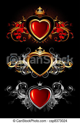heart forms with ornate elements - csp8373024