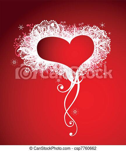Christmas Heart Vector.Heart Frame Love Red Background