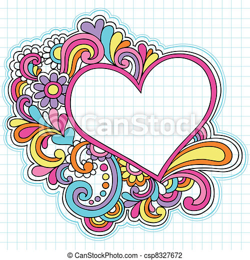 Heart Frame Notebook Doodles Vector - csp8327672