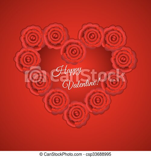 heart frame shaped red roses for valentine card
