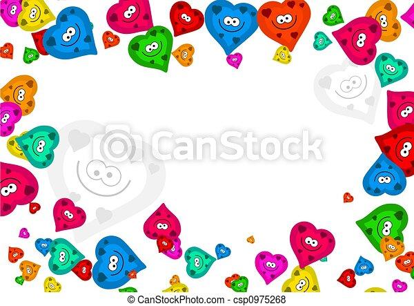 Cute colourful romantic heart frame border design.
