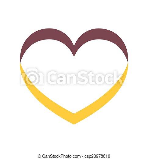 Heart frame. Abstract vintage retro colored heart shape vector design.