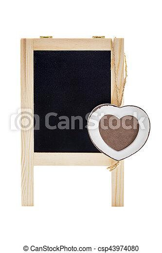Heart frame with chalkboard. Blank black chalk board with wooden ...