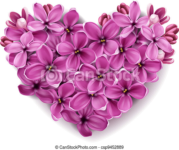 Heart from flowers of a lilac. - csp9452889