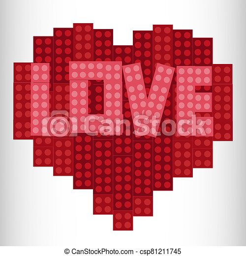 Heart from plastic bricks on a white background. Red. Lego Heart Designer - csp81211745