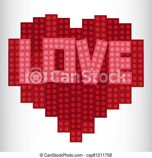 Heart from plastic bricks on a white background. Red. Lego Heart Designer - csp81211758