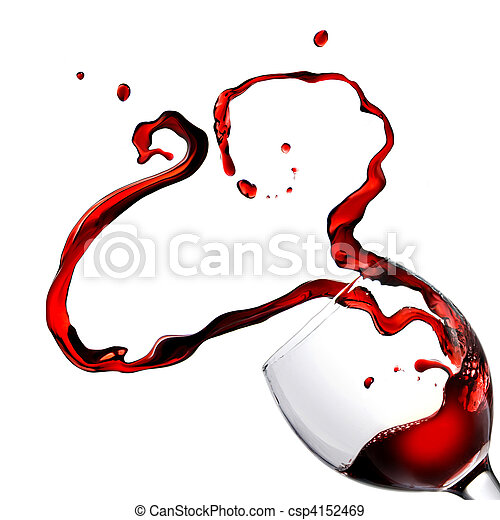 Heart from pouring red wine in goblet isolated on white - csp4152469