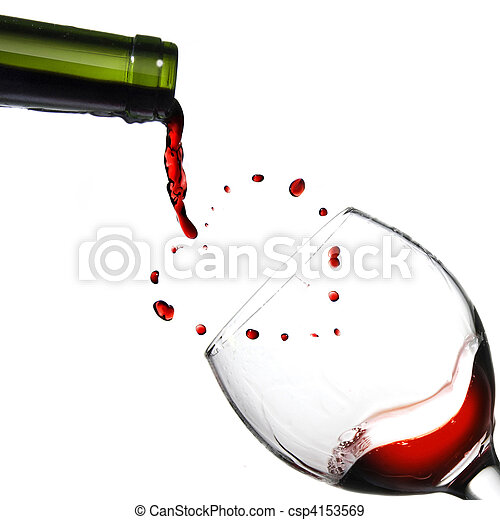 Heart from pouring red wine in goblet isolated on white - csp4153569