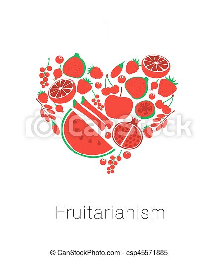 Heart from red fruit and berries. Card I love fruitarianism eco vegetarian healthy food. Vector illustration - csp45571885