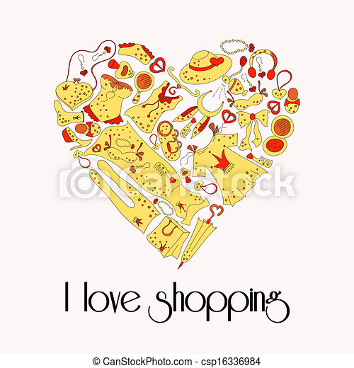 31a985fb3ee8f Heart from stylish hand drawn set of fashion items. I love shopping ...