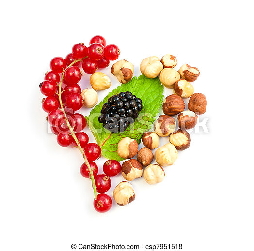 heart from the berries on a white background - csp7951518