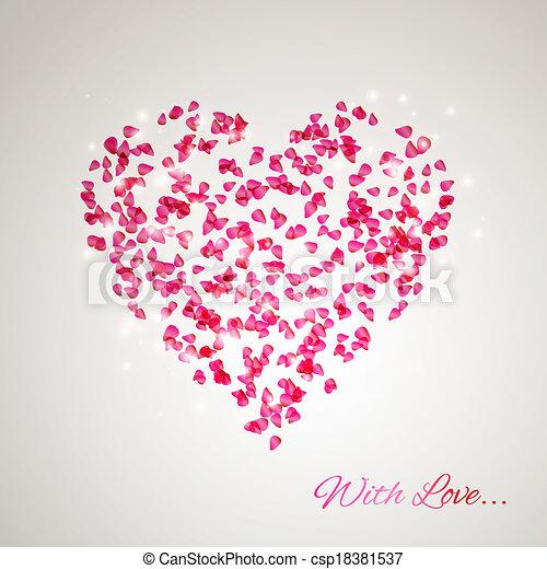 Heart from the gentle rose petals - csp18381537