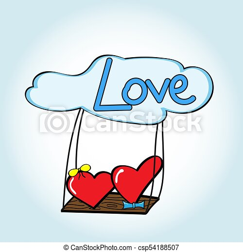 Heart girl and heart boy on the swing in the clouds. - csp54188507