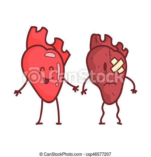 Heart human internal organ healthy vs unhealthy medical anatomic heart human internal organ healthy vs unhealthy medical anatomic funny cartoon character pair in comparison happy against sick and damaged vector ccuart Gallery