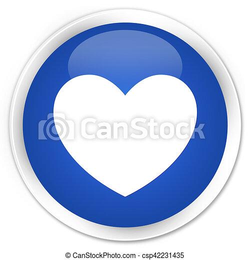 Heart icon blue glossy round button - csp42231435