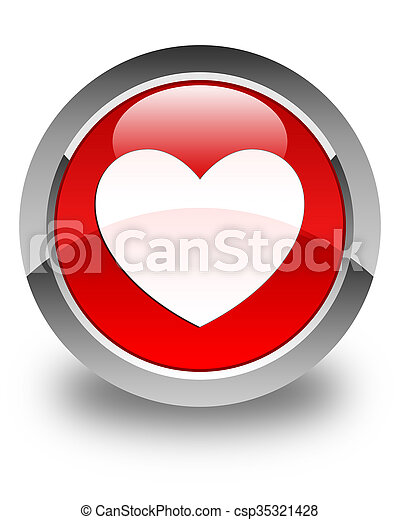 Heart icon glossy red round button - csp35321428