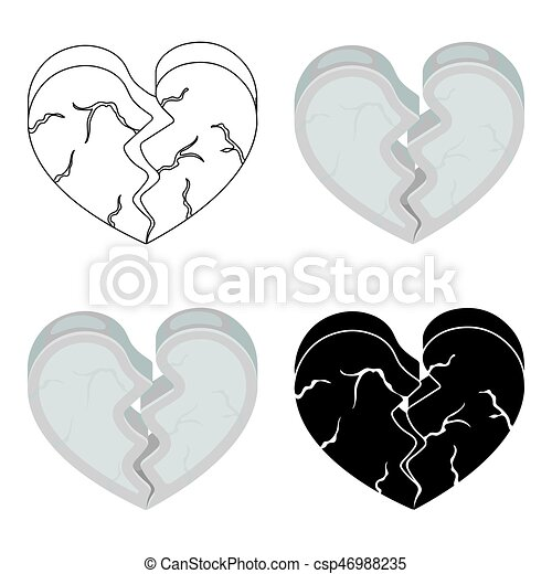 Heart icon in cartoon style isolated on white background. Romantic symbol stock vector illustration. - csp46988235