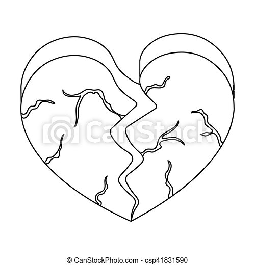 Heart icon in outline style isolated on white background. Romantic symbol stock vector illustration. - csp41831590