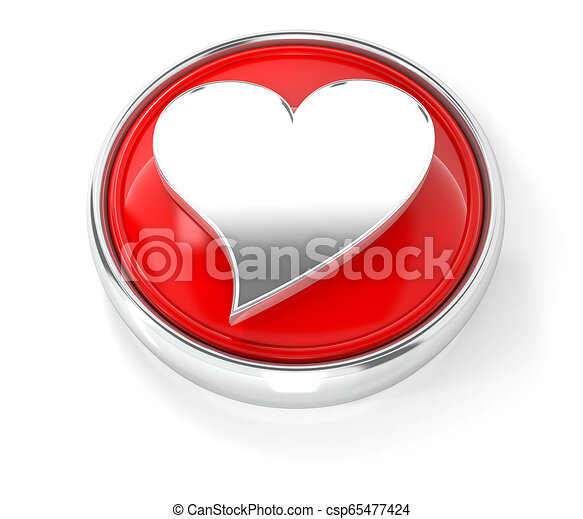 Heart icon on glossy red round button - csp65477424