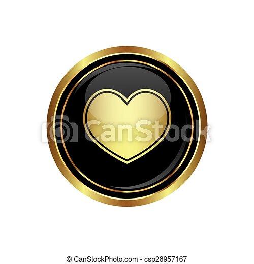 Heart icon on the black - csp28957167