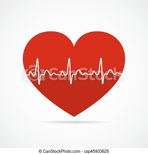 heart icon vector illustration red heart icon with sign heartbeat