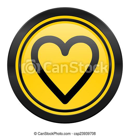 heart icon, yellow logo, love sign - csp23939708