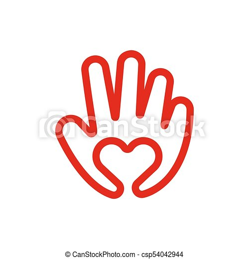 Heart In Hand Line Icon Love And Care Concept Creative Logo Vector
