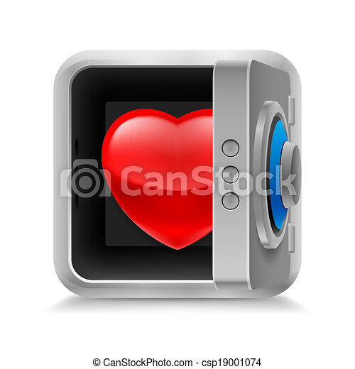 Heart In Safe Red Glossy Heart In Code Lock Safe On White Background