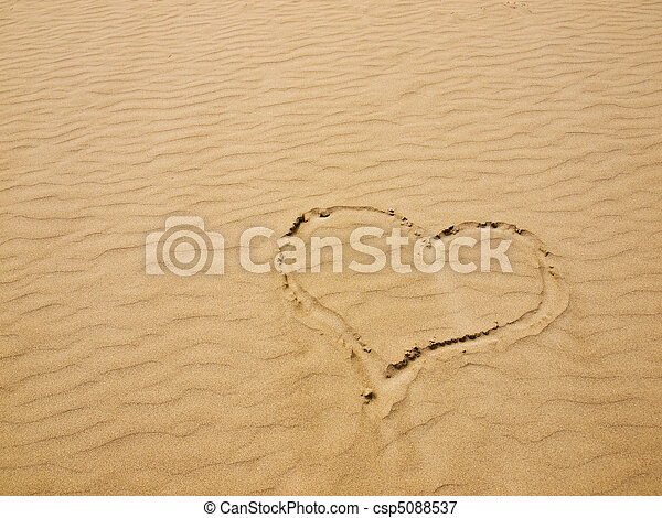 Heart in the Sand on a Sunny Day - csp5088537