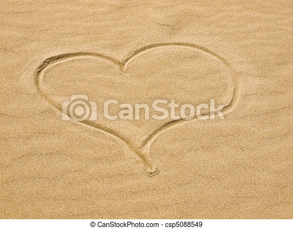 Heart in the Sand on a Sunny Day - csp5088549